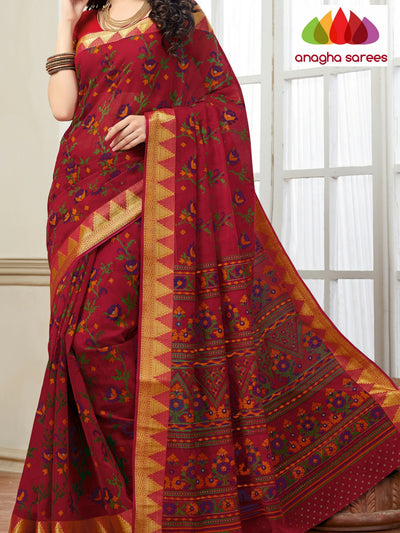 Anagha Sarees Cotton saree Fancy Cotton Saree - Sindhoor Red : ANA_120
