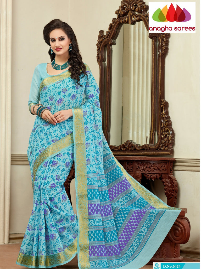 Fancy Cotton Saree - Sky blue : ANA_116 Anagha Sarees