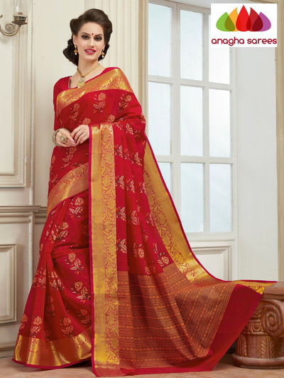 Fancy Cotton Saree - Tomato Red : ANA_125 - Anagha Sarees