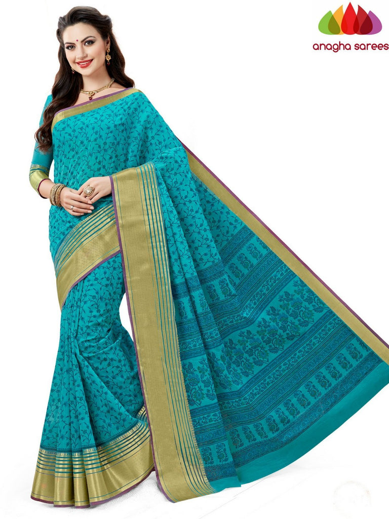 Fancy Cotton Saree - Turquoise Blue : ANA_612 Anagha Sarees