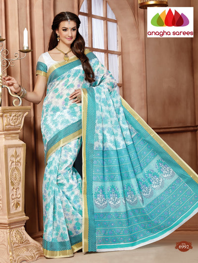Fancy Cotton Saree - White/Blue : ANA_109 - Anagha Sarees