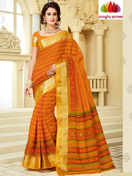 Anagha Sarees Cotton saree Fancy Cotton Saree - Yellow : ANA_A06