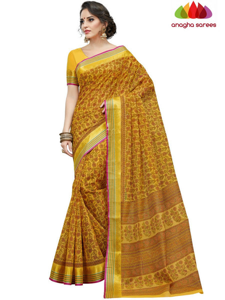 Anagha Sarees Cotton saree Fancy Cotton Saree - Yellow : ANA_D19