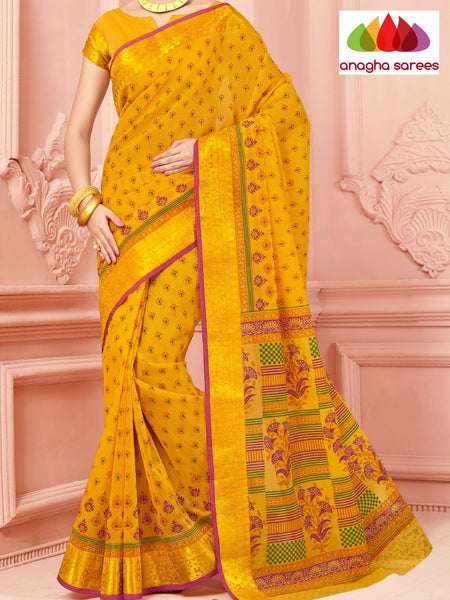 Anagha Sarees Cotton saree Fancy Cotton Saree - Yellow/Big Zari Border : ANA_327