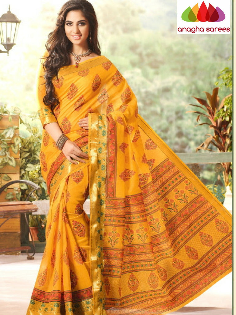 Fancy Cotton Saree - Yellow/Zari-Woven Border : ANA_203 Anagha Sarees