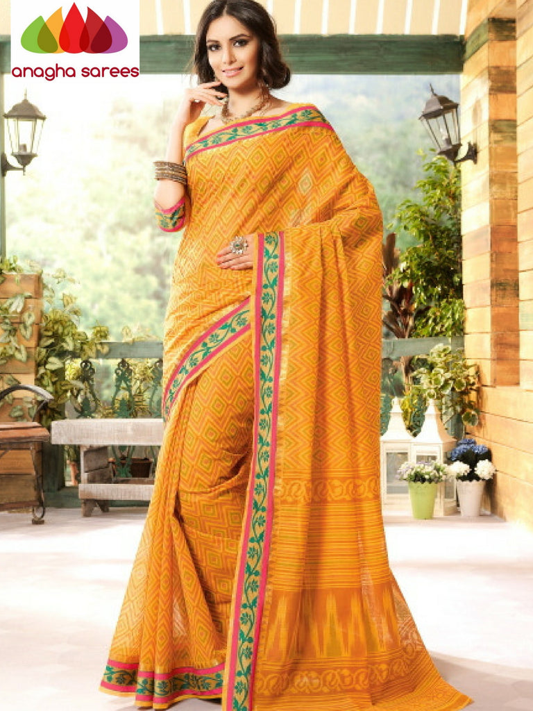 Fancy Cotton Saree - Yellow/ Zari-Woven Border : ANA_217 Anagha Sarees