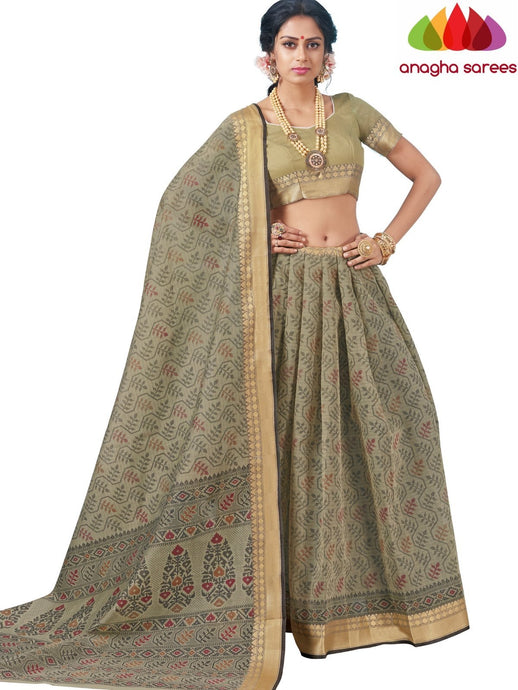 Anagha Sarees Cotton saree Standard / Grey Fancy Cotton Saree - Grey : ANA_K98