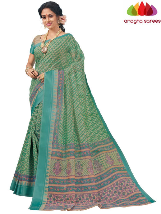 Anagha Sarees Cotton saree Standard / Grey Fancy Cotton Saree - Light Green : ANA_K99