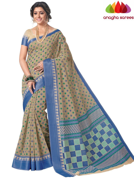 Anagha Sarees Cotton saree Standard / Light Beige Fancy Cotton Saree - Light Beige : ANA_L13