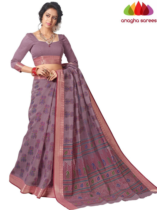 Anagha Sarees Cotton saree Standard / Light Purple Fancy Cotton Saree - Light Purple : ANA_L01