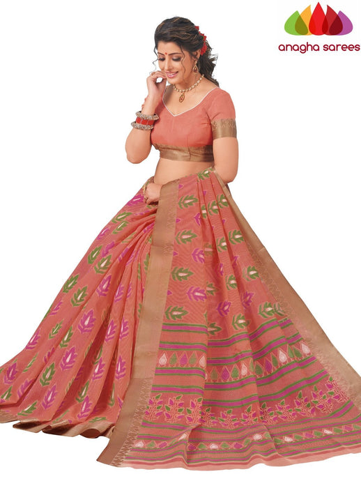 Anagha Sarees Cotton saree Standard / Peach Fancy Cotton Saree - Peach : ANA_L02
