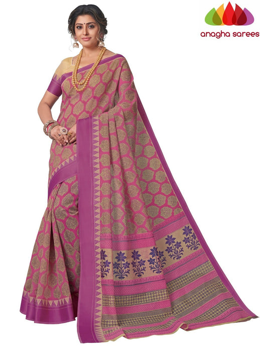 Anagha Sarees Cotton saree Standard / Pink Fancy Cotton Saree - Pink: ANA_L12