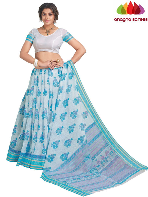 Anagha Sarees Cotton saree Standard / White/Light Blue Fancy Cotton Saree - White/Light Blue : ANA_L07