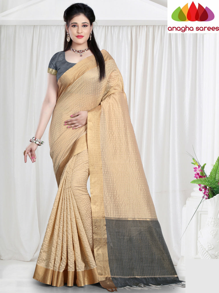 Checkered Kora Cotton Silk Saree - Beige  ANA_464 - Anagha Sarees