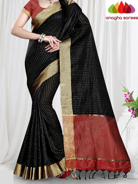 Checkered Kora Cotton Silk Saree - Black ANA_465 - Anagha Sarees