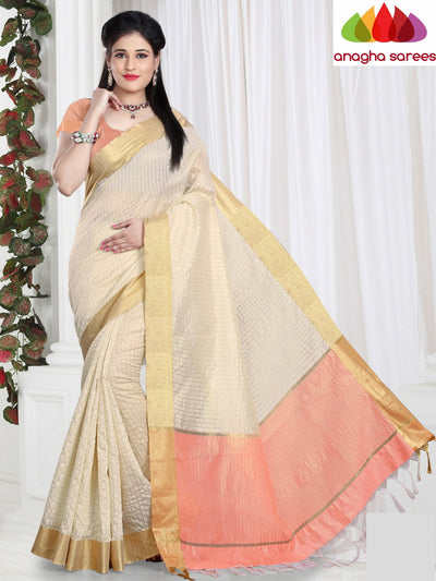 Checkered Kora Cotton Silk Saree - Cream ANA_466 - Anagha Sarees