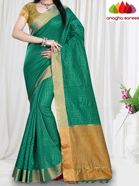 Checkered Kora Cotton Silk Saree - Green ANA_467 - Anagha Sarees