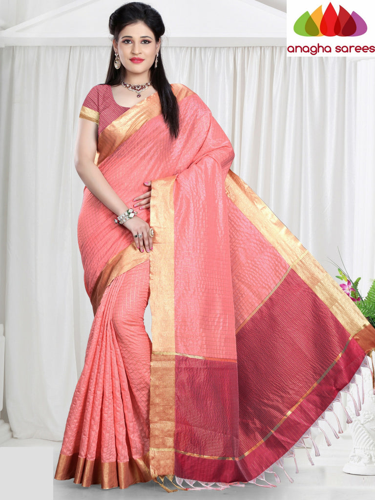 Checkered Kora Cotton Silk Saree - Light Pink ANA_468 Anagha Sarees