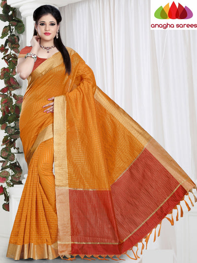 Checkered Kora Cotton Silk Saree - Mustard ANA_470 - Anagha Sarees