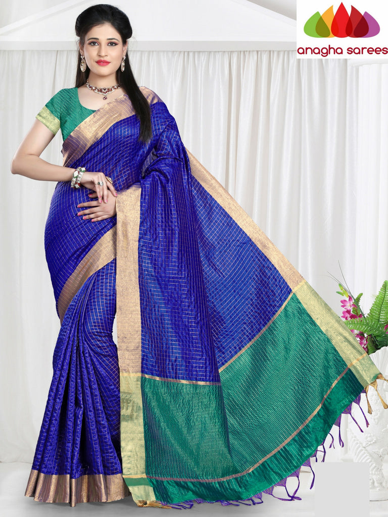 Checkered Kora Cotton Silk Saree - Royal Blue ANA_472 Anagha Sarees