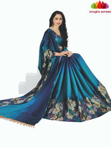 Designer Floral Print Cotton-Silk Saree - Blue  ANA_C29