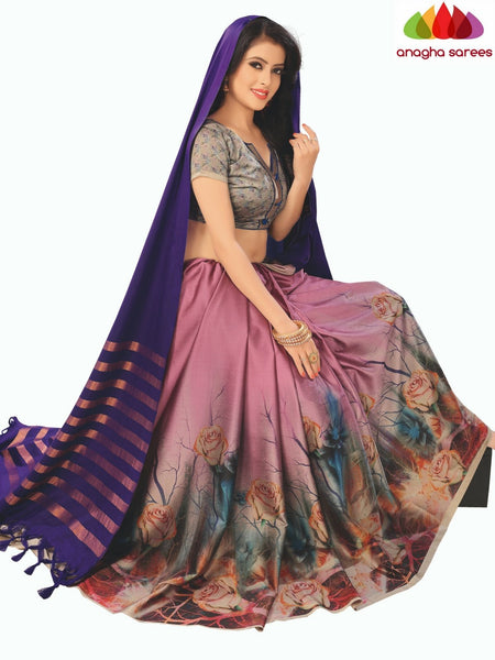 Designer Floral Print Cotton-Silk Saree - Purple/Light Magenta  ANA_B99 - Anagha Sarees