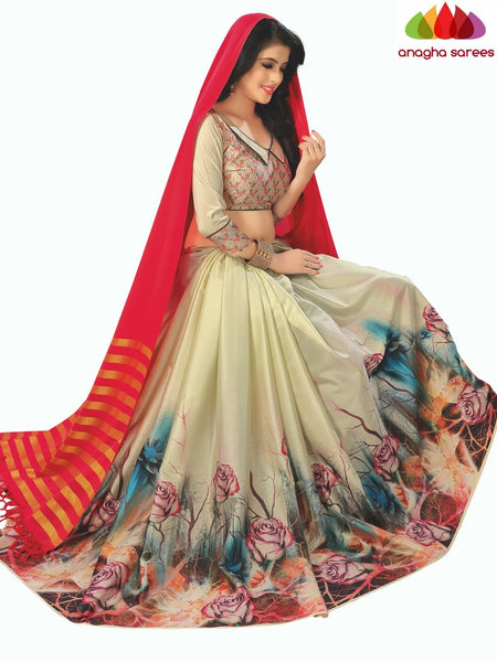Designer Floral Print Cotton-Silk Saree - Red/Cream  ANA_B98
