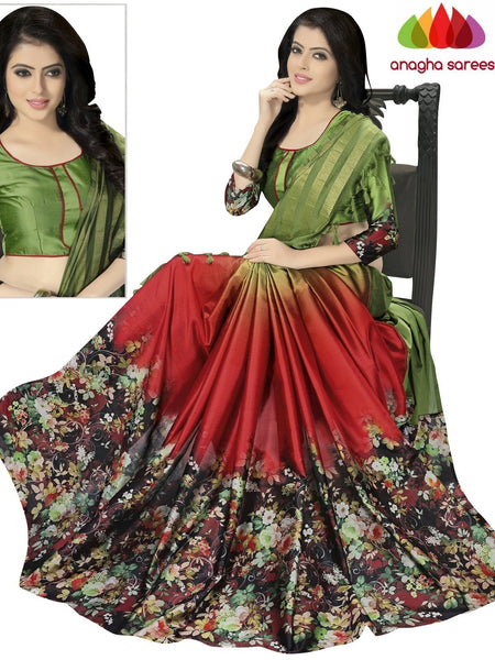 Designer Floral Print Cotton-Silk Saree - Red/Green  ANA_886 - Anagha Sarees