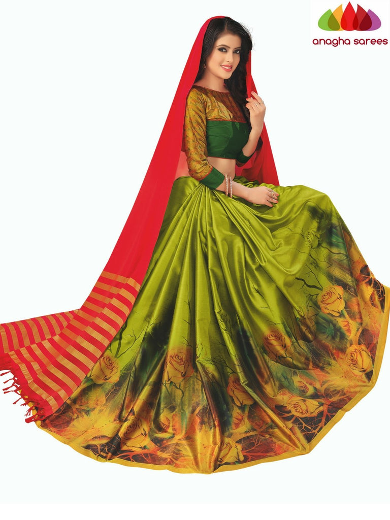 Designer Floral Print Cotton-Silk Saree - Red/Green  ANA_C02 Anagha Sarees