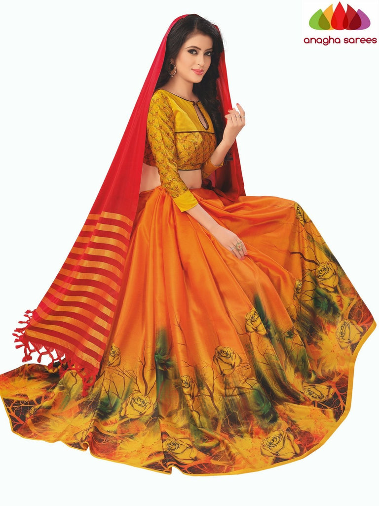 Designer Floral Print Cotton-Silk Saree - Red/Orange  ANA_B96 Anagha Sarees