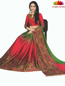 Designer Kalamkari Print Cotton-Silk Saree - Red  ANA_C37