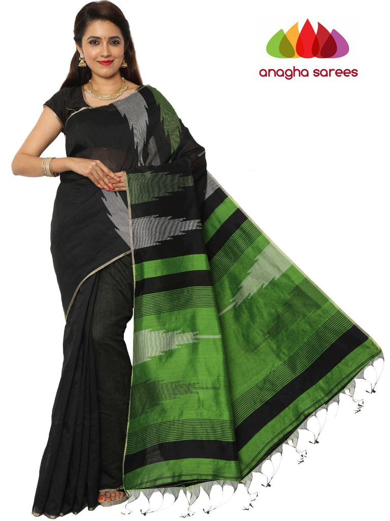Handloom Cotton-silk Saree - Black ANA_F23