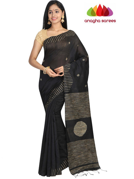 c4892eca86792 Handloom Cotton-silk Saree - Black   ANA G94