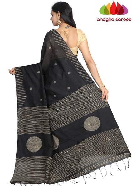 Handloom Cotton-silk Saree - Black :  ANA_G94