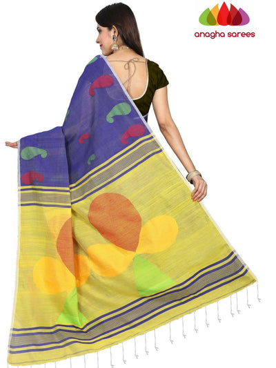Handloom Cotton-silk Saree - Blue  ANA_E13 - Anagha Sarees