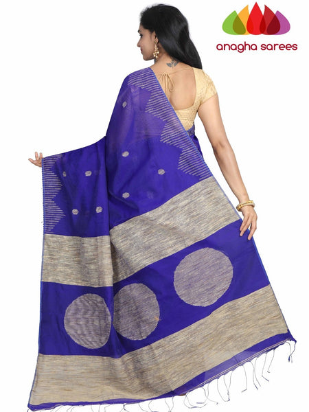 Handloom Cotton-silk Saree - Ink Blue :  ANA_G93