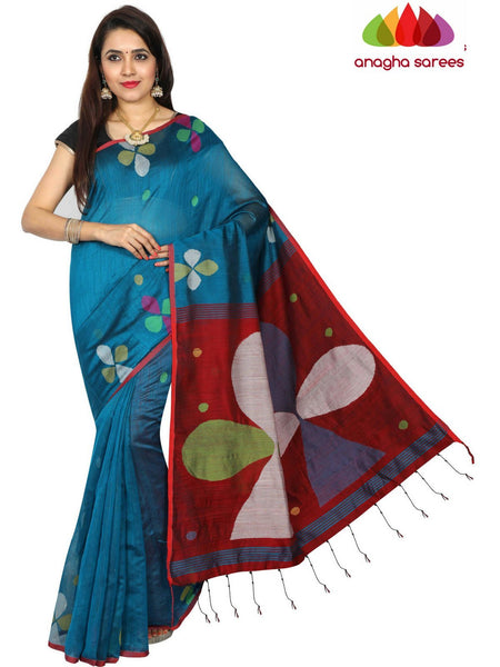 Handloom Cotton-silk Saree - Peacock Blue  ANA_E14