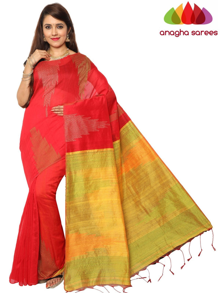Handloom Cotton-silk Saree - Red ANA_F25 Anagha Sarees