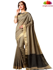 Kantha Cotton-Silk Saree - Beige  ANA_E63
