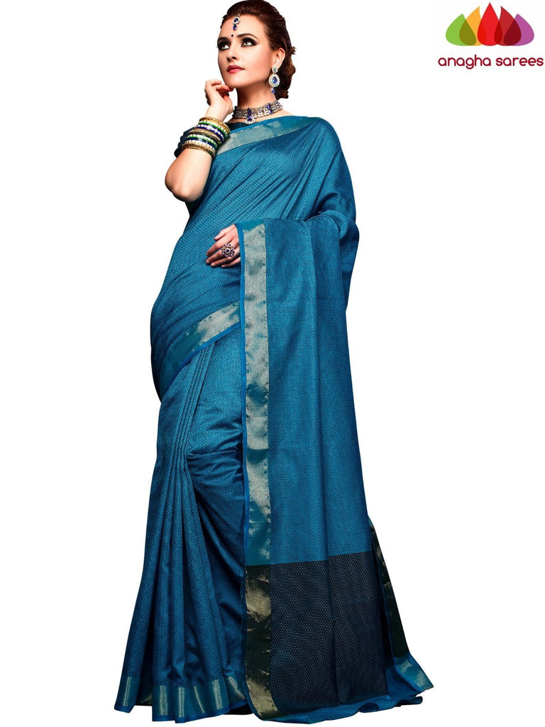 Kantha Cotton-Silk Saree - Blue  ANA_E58 Anagha Sarees