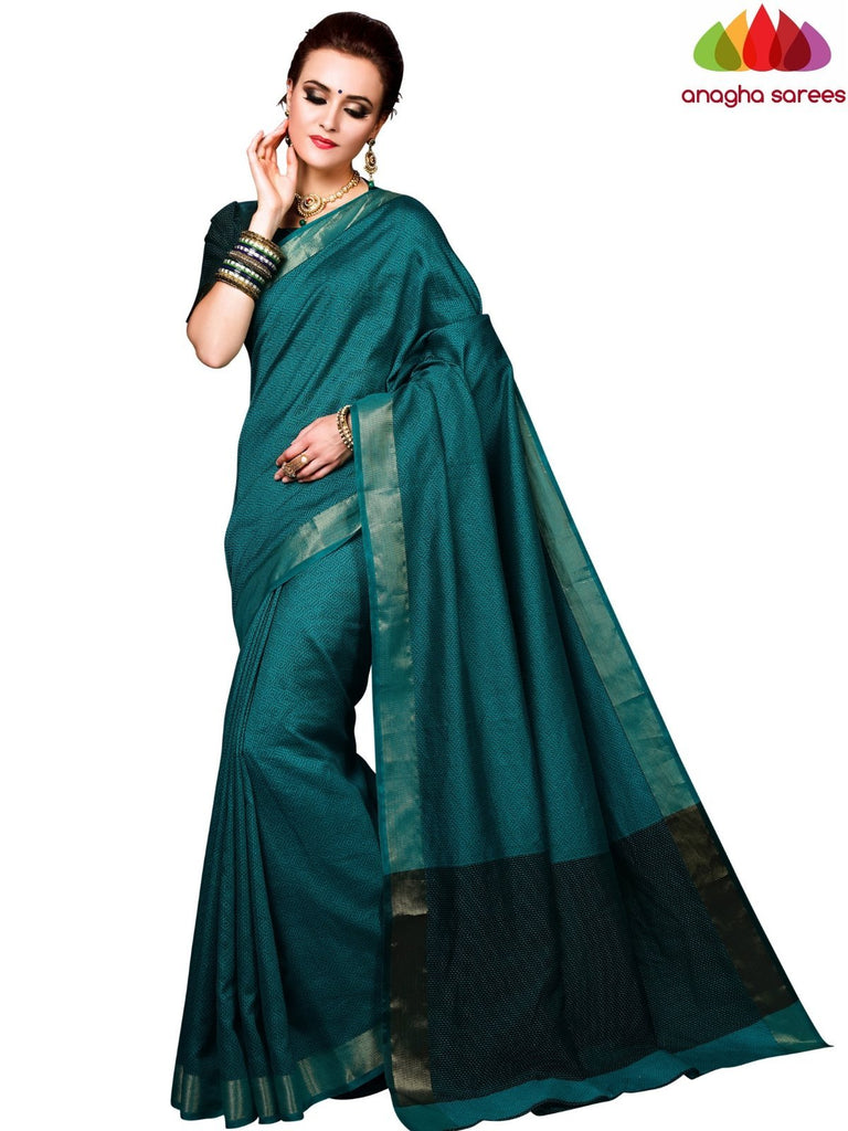 Kantha Cotton-Silk Saree - Bluish Green ANA_E60 Anagha Sarees