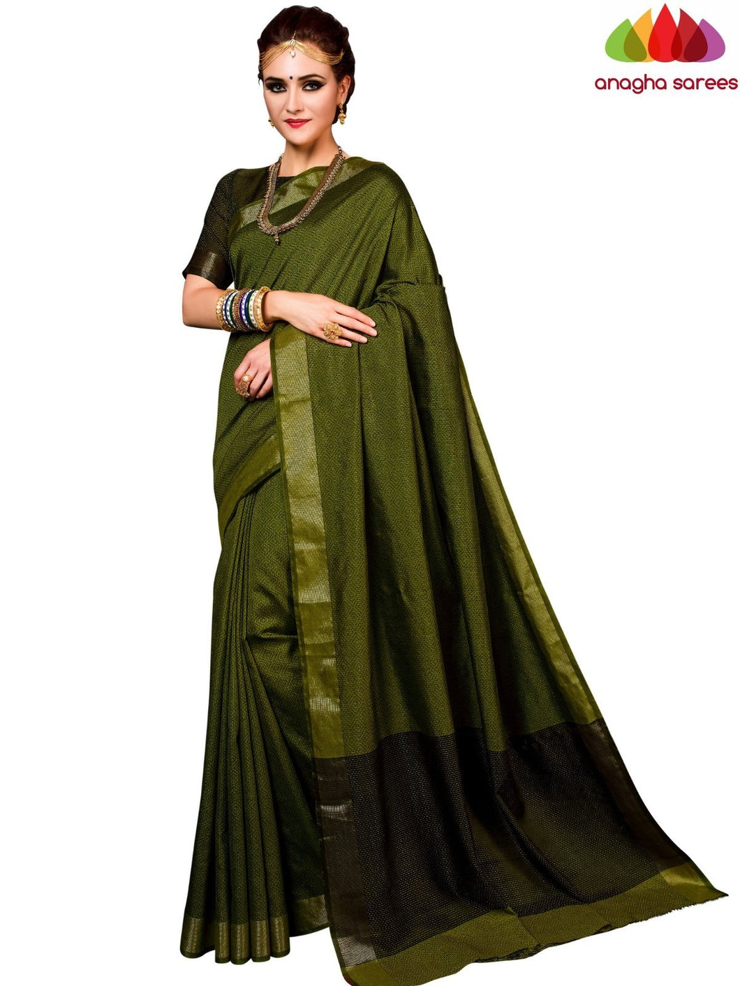 Kantha Cotton-Silk Saree - Dark Olive Green  ANA_E61