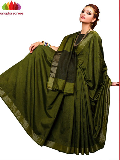 Kantha Cotton-Silk Saree - Dark Olive Green ANA_E61 - Anagha Sarees