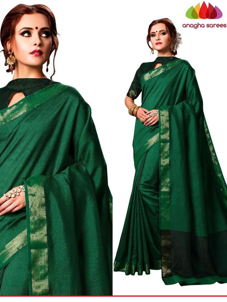 Kantha Cotton-Silk Saree - Green  ANA_E57 Anagha Sarees