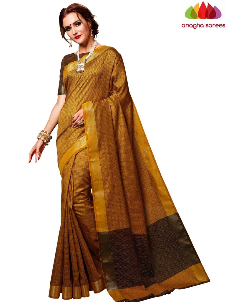 Kantha Cotton-Silk Saree - Mustard  ANA_E62