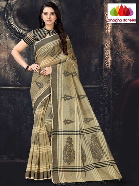 Anagha Sarees Cotton-silk Length=6.2 metres  Width=44 inches / Beige/Black Rich Cotton-Silk Saree - Beige/Black : ANA_I64