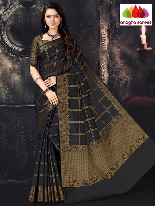 Anagha Sarees Cotton-silk Length=6.2 metres  Width=44 inches / Black Rich Cotton-Silk Saree - Black : ANA_I60