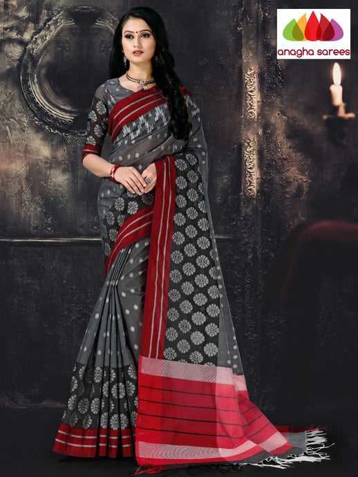 Anagha Sarees Cotton-silk Length=6.2 metres  Width=44 inches / Dark Grey Rich Cotton-Silk Saree - Dark Grey : ANA_I70