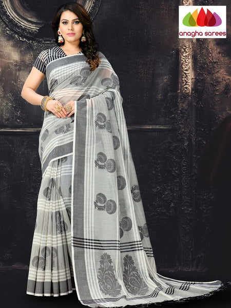 Anagha Sarees Cotton-silk Length=6.2 metres  Width=44 inches / Grey Rich Cotton-Silk Saree - Grey : ANA_I49