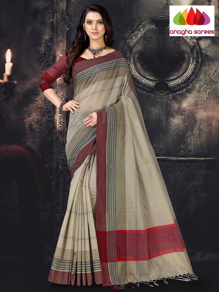 Anagha Sarees Cotton-silk Length=6.2 metres  Width=44 inches / Grey Rich Cotton-Silk Saree - Grey : ANA_I50